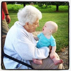 A Smile for Her Great Grandson… and One in Return
